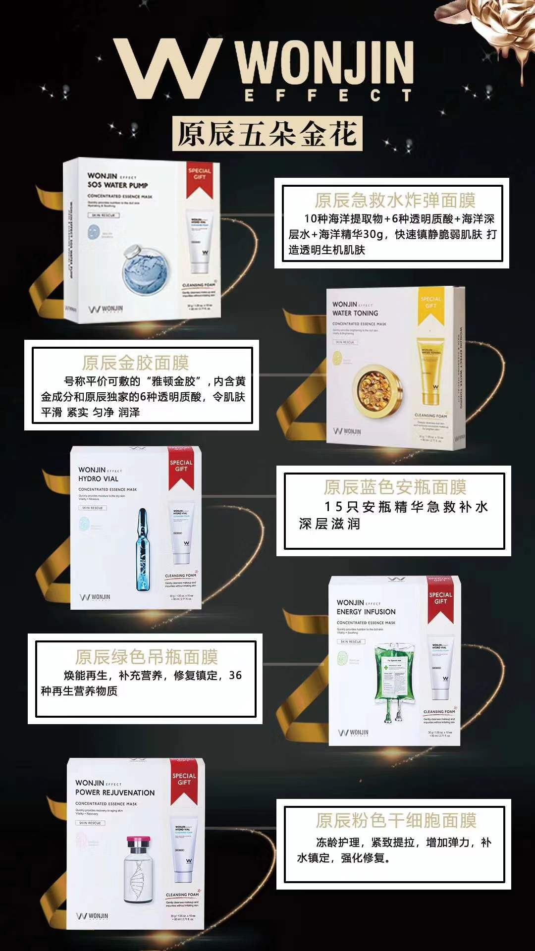韩国WONJIN原辰五款核心面膜让肌肤时刻保持最佳状态